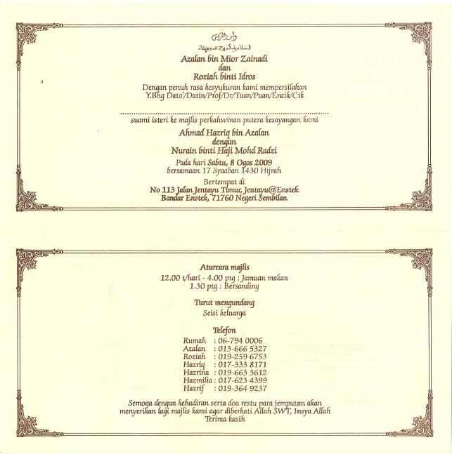 Kenduri Kahwin Hazriq M C K K 9 4 9 8